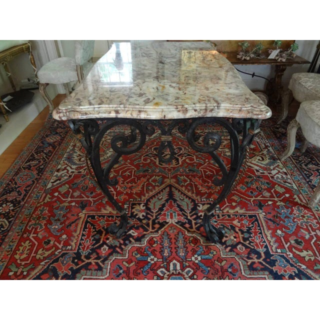 French 1940s French Marble Top Wrought Iron Center Table For Sale - Image 3 of 9