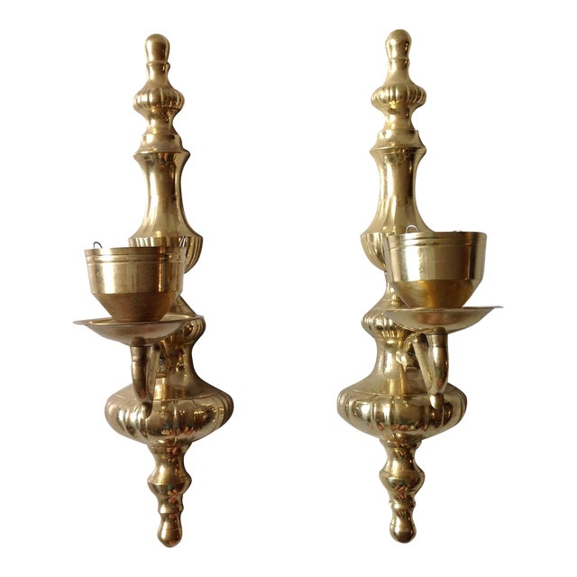 Brass Wall Sconce Candle Holders - Pair For Sale