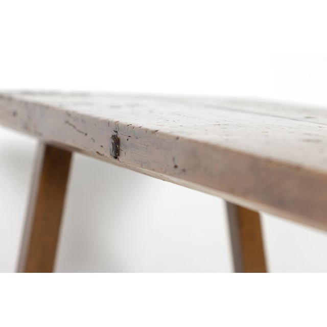 Rustic Elm Work Bench With Square Iron Pegs, English Circa 1880. For Sale - Image 10 of 13