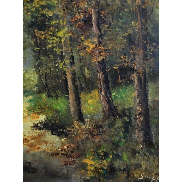 Wooded Path Oil on Canvas Painting - Image 5 of 7