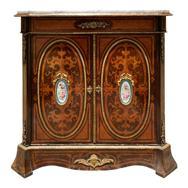 Antique 19c Dutch Marquetry Inlaid Marble Top Buffet Cabinet W German Porcelain Medallions For Sale