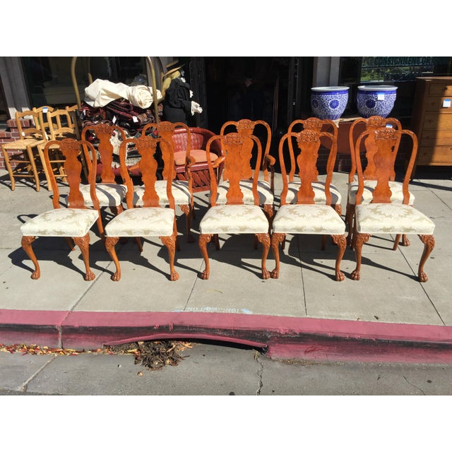 Burl Mahogany Chippendale Style Dining Chairs - Set of 10 - Image 10 of 12