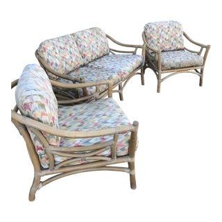 Vintage McGuire Seating Set - 3 Pieces For Sale