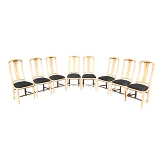 1970s 8 Maguire Style Faux Rattan Dining Chairs - Set of 8 For Sale