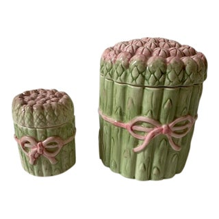 Asparagus Porcelain Canisters - a Pair For Sale