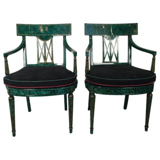 1980s Vintage Maitland Smith Malachite Painted Finish Armchairs- A Pair For Sale
