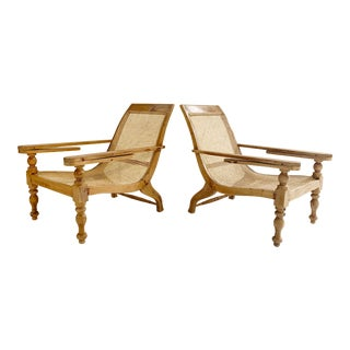 British Colonial Plantation Chairs With Sheepskins, Pair For Sale