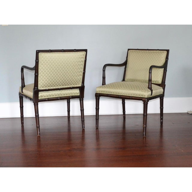 Boho Chic Faux Bamboo Arm Chairs - a Pair For Sale - Image 3 of 3