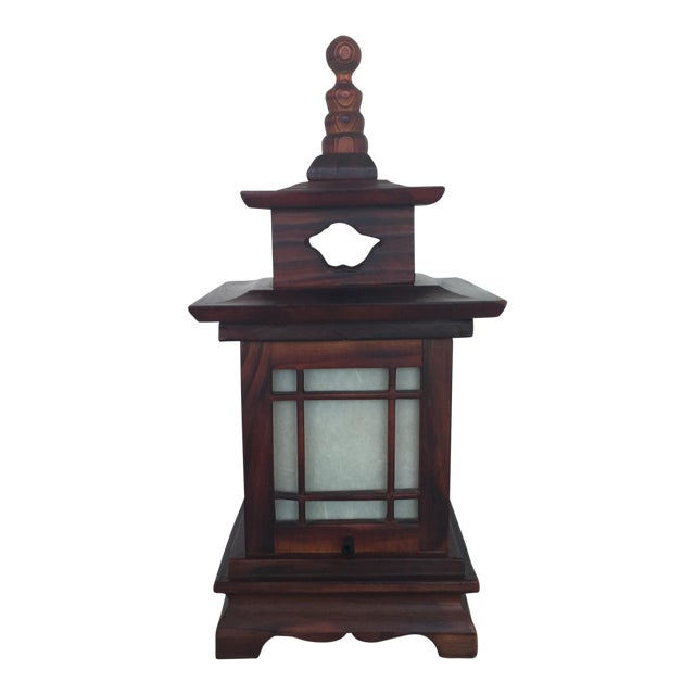 Antique Carved Wood Asian Chinoiserie Pagoda Lantern Light Lamp For Sale