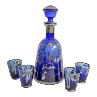 Sterling Overlay Cobalt Glass Cordial Set for 4 For Sale