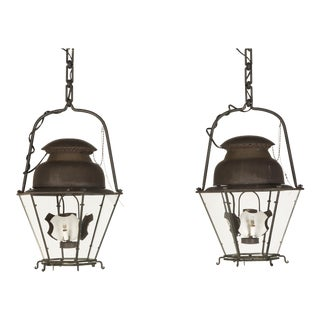 French 18th C Style Hand-Made Copper Lanterns From the Old Plank Collection - a Pair