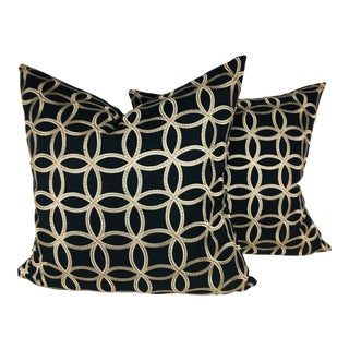 Embroidered Black Cotton Pillows – a Pair