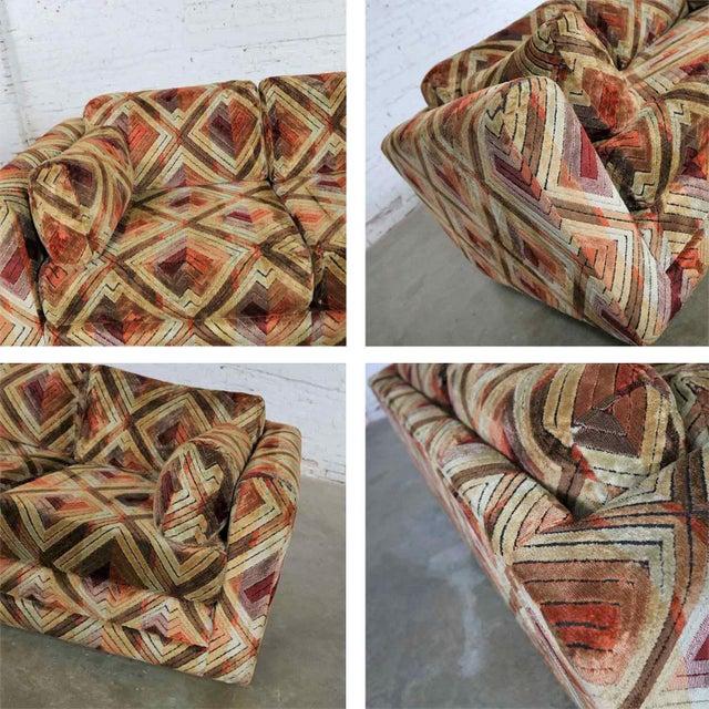 Tuxedo Mod Loveseat Sofa in Jack Lenor Larsen Style Fabric For Sale - Image 9 of 13