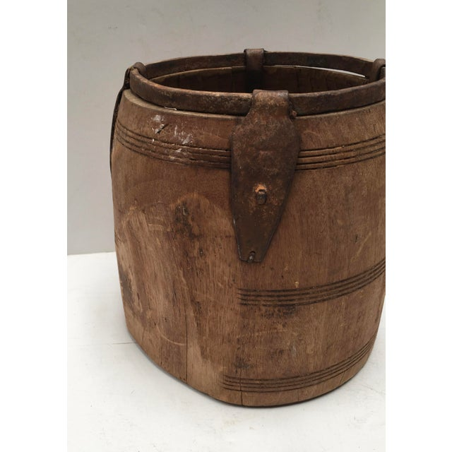 Antique Primitive Handmade Wood and Metal Grain Bucket For Sale - Image 4 of 9