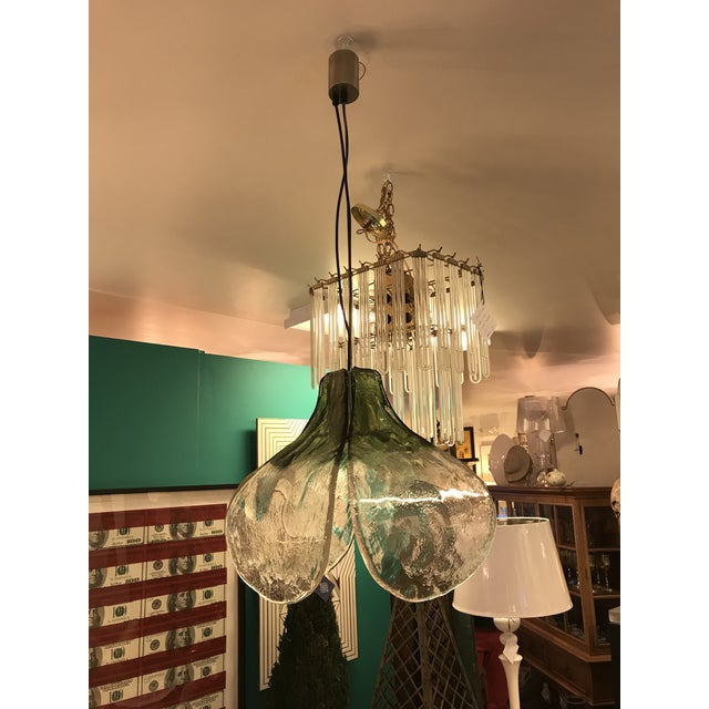 Glass Mazzega Green Flower Chandelier, by Carlo Nason, Murano Glass 1970's For Sale - Image 7 of 8