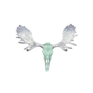Wall Charmers Alberta Faux Mint Green + Silver Glitter Antlers Resin Antlers Resin Moose Head Skull