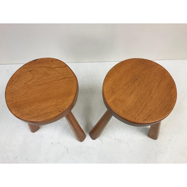 Mid-Century Modern Pair Charlotte Perriand Stools for Les Arcs For Sale - Image 3 of 5