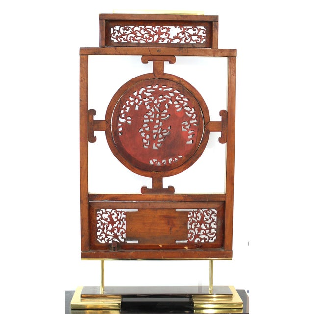 Asian Modern Lacquer Screen Element Mounted on Stand Attributed to Karl Springer For Sale - Image 10 of 13