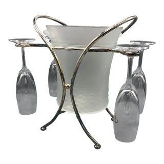 Mid-Century Glass & Chrome Caddy Ice Bucket With Champagne Glasses - 5 Pc. Set For Sale