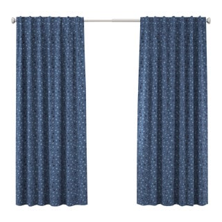 "120"" Curtain in Blue Dot by Angela Chrusciaki Blehm for Chairish For Sale"