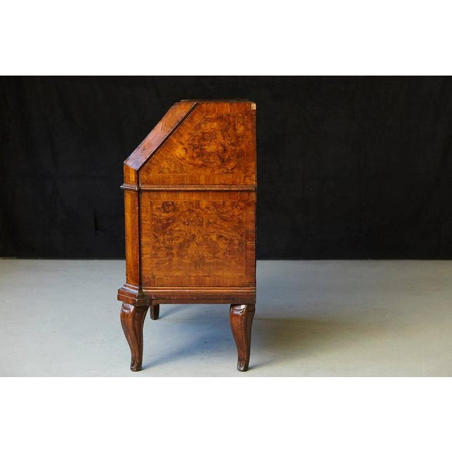 Italian Burled Walnut Slant Front Desk with Hidden Drawers For Sale - Image 4 of 10