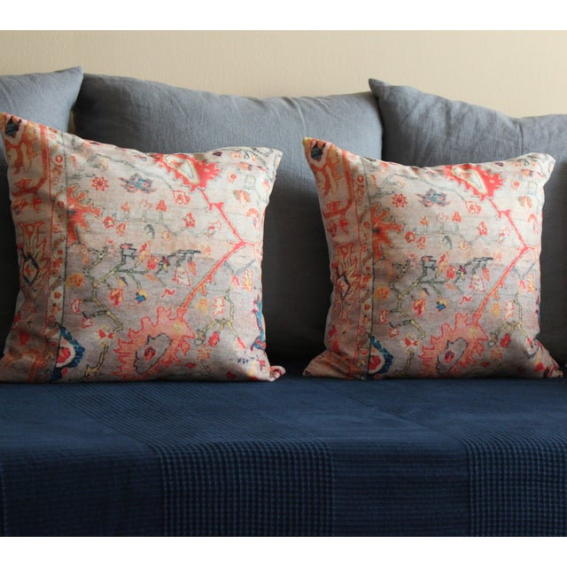 """Vintage Multi-Colored Oriental Rug Print 18"""" Pillow Covers – A Pair - Image 5 of 7"""
