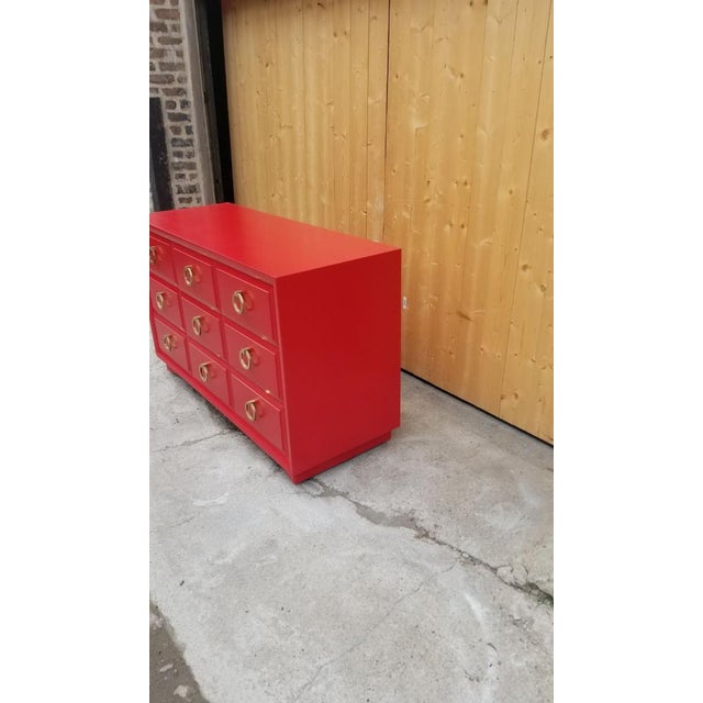 Metal Mid Century Modern t.h. Robsjohn-Gibbings for Widdicomb Credenza Dresser Freshly Painted in Red Paint For Sale - Image 7 of 8