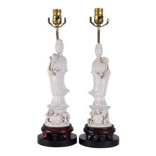 Blanc De Chine Quan Yin Lamps - a Pair For Sale