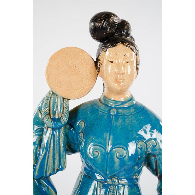 Chinese Ming Dynasty Style Male and Female Porcelain Statues - a Pair For Sale - Image 4 of 13