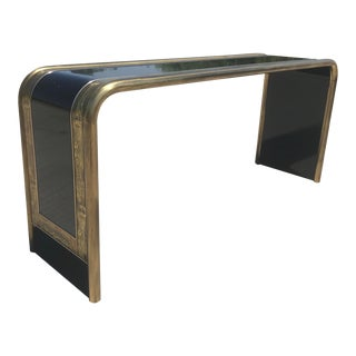 Bernhard Rohne Acid Etched Brass Console Table for Mastercraft For Sale