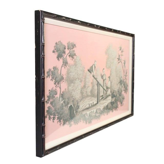 Vintage Chinoiserie Artwork of Children Playing Painted in Grisailles on Pink Background For Sale - Image 4 of 5