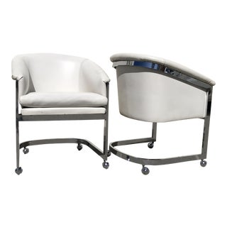 Milo Baughman for Dia Mid-Century Hollywood Regency Chrome Chairs on Casters, Set of 2