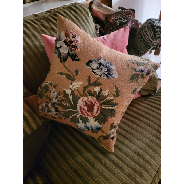 Camel Vintage Needlepoint Floral Pillows - a Pair For Sale - Image 8 of 11