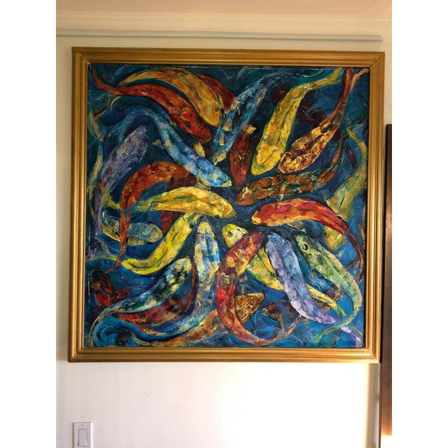 Abstract 1990s Koi Fish Painting, Framed For Sale - Image 3 of 9