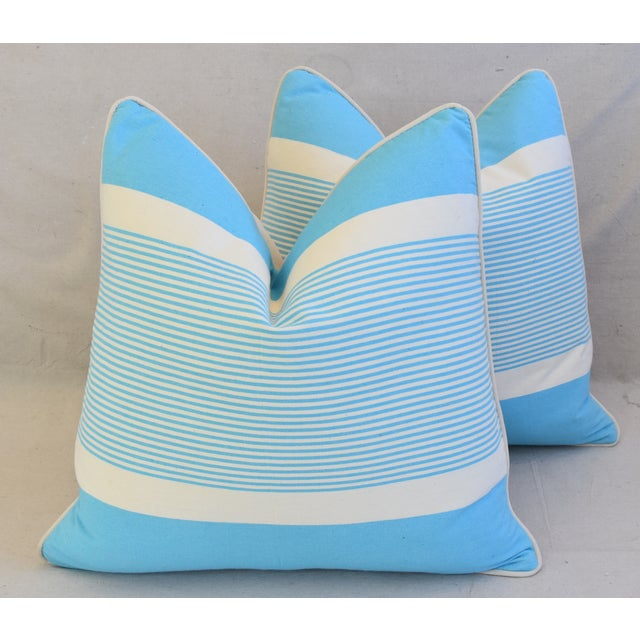 """French Blue & White Nautical Striped Feather/Down Pillows 22"""" Square - Pair For Sale - Image 13 of 13"""