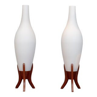 Scandinavian Modern Frosted Glass and Teak Table Lamps - a Pair For Sale