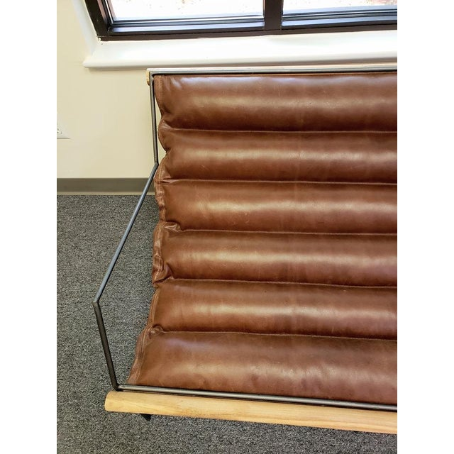 Brown Modern Mid Century Style Style Brown Leather & Metal Sling Loveseat For Sale - Image 8 of 12