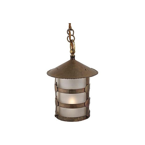 Antique Arts & Crafts Brass Lamp - Image 2 of 5