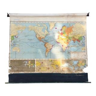 Vintage Earle-McKee Pull Down School Map For Sale