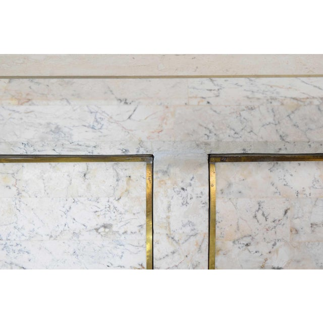 Metal Maitland Smith Tessellated Marble Bombe Chests - A Pair For Sale - Image 7 of 10
