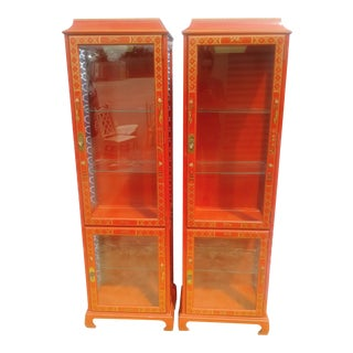 Vintage Chinoiserie Red Gold Jasper Furniture Pagoda China Display Cabinets- a Pair For Sale