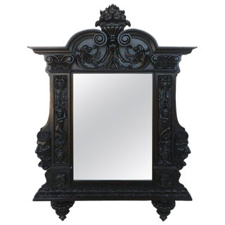 18th Century French Large Flemish Baroque Walnut Ebonized Mirror For Sale
