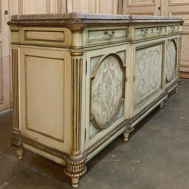 Early 20th Century Antique Italian Marble Top Painted Buffet For Sale - Image 5 of 13