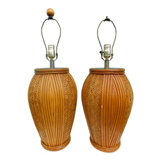 20th Century Boho Chic Split Reed Rattan & Basket Weave Lamps - a Pair For Sale