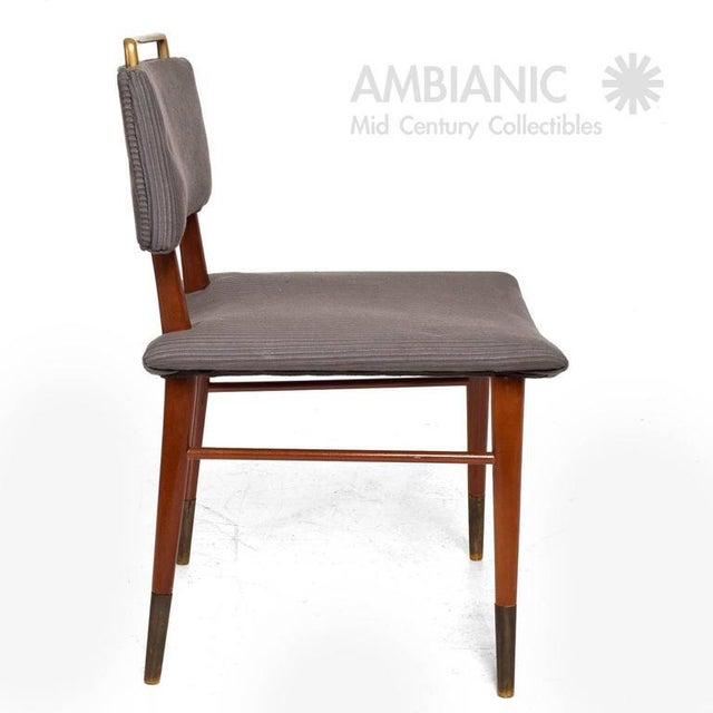 Set of 15 Mid-Century Modern Mahogany & Brass Dining Chairs For Sale - Image 4 of 10