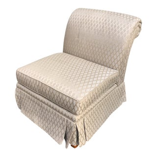 Contemporary Henredon Silk Slipper Chair For Sale