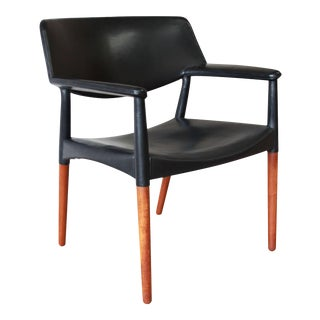 Ejner Larsen and Aksel Bender Madsen Black Leather & Rosewood Armchair For Sale