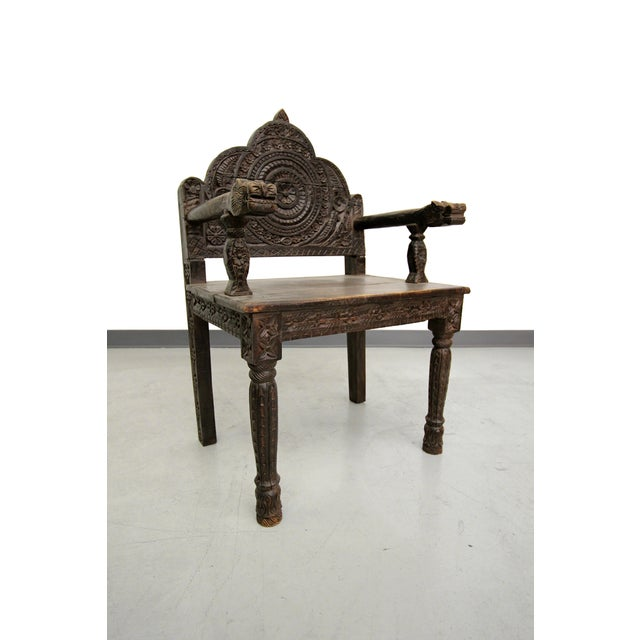 Antique Carved Wood Occasional Chairs - A Pair - Image 7 of 11