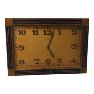 Antique Art Deco Bronze Dore' and Blue Enamel Swiss 8 Day Desk Vanity Clock For Sale