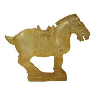 Chinese Clear Crystal Glass Vintage Dusty Finish Horse Figure For Sale